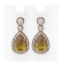 2.4 ctw Canary Citrine & Diamond Earrings 18K Rose Gold - REF-129W5H
