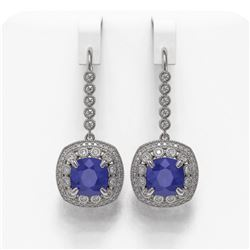 12.9 ctw Certified Sapphire & Diamond Victorian Earrings 14K White Gold - REF-247K6Y