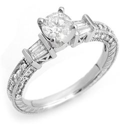 1.08 ctw Certified VS/SI Diamond Ring 18k White Gold - REF-143F3M
