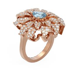 2.82 ctw Aquamarine & Diamond Ring 18K Rose Gold - REF-225W5H