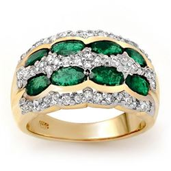 2.25 ctw Emerald & Diamond Ring 14k Yellow Gold - REF-105M5G