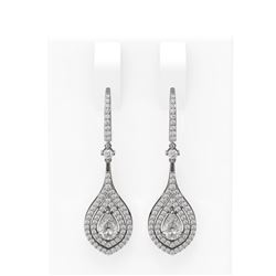 2.11 ctw Pear Diamond Earrings 18K White Gold - REF-334X2A
