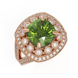 7.07 ctw Certified Tourmaline & Diamond Victorian Ring 14K Rose Gold - REF-181X5A
