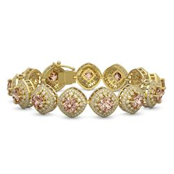 31.35 ctw Morganite & Diamond Victorian Bracelet 14K Yellow Gold - REF-1063R3K