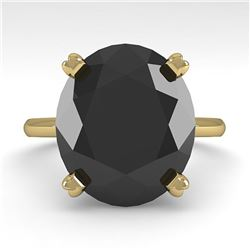 9.0 ctw Oval Black Diamond Engagment Designer Ring 18k Yellow Gold - REF-247A5N