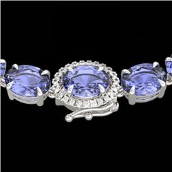 45.25 ctw Tanzanite & Diamond Eternity Micro Necklace 14k White Gold - REF-436W4H