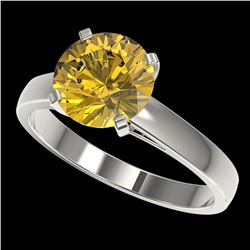 2.50 ctw Certified Intense Yellow Diamond Solitaire Ring 10k White Gold - REF-564K5Y