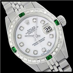 Rolex Men's Stainless Steel, QuickSet, Diam Dial & Diam/Emerald Bezel