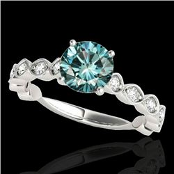 1.5 ctw SI Certified Fancy Blue Diamond Solitaire Ring 10k White Gold - REF-163Y6X