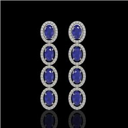6.47 ctw Sapphire & Diamond Micro Pave Halo Earrings 10k White Gold - REF-143N6F