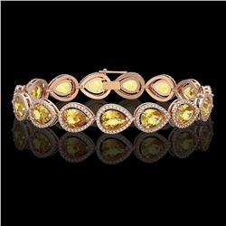 17.3 ctw Fancy Citrine & Diamond Micro Pave Halo Bracelet 10k Rose Gold - REF-282N9F