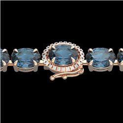 19.25 ctw London Blue Topaz & VS/SI Diamond Micro Bracelet 14k Rose Gold - REF-116Y4X
