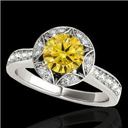 1.5 ctw Certified SI/I Fancy Intense Yellow Diamond Ring 10k White Gold - REF-211A4N