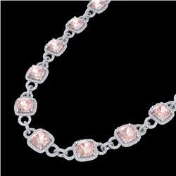 49 ctw Morganite & Micro Diamond Eternity Necklace 14k White Gold - REF-1150F9M