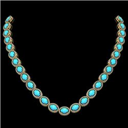 36.208 ctw Turquoise & Diamond Micro Pave Halo Necklace 10k Yellow Gold - REF-553N5F