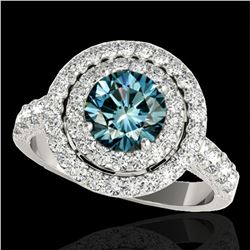 3 ctw SI Certified Blue Diamond Solitaire Halo Ring 10k White Gold - REF-248H9R