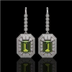 13.4 ctw Tourmaline & Diamond Victorian Earrings 14K White Gold - REF-375Y3X
