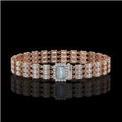 21.86 ctw Aquamarine & Diamond Bracelet 14K Rose Gold - REF-318G2W