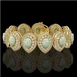 46.44 ctw Certified Opal & Diamond Victorian Bracelet 14K Yellow Gold - REF-1468H4R