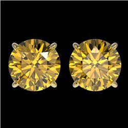 3 ctw Certified Intense Yellow Diamond Stud Earrings 10k Yellow Gold - REF-527W8H