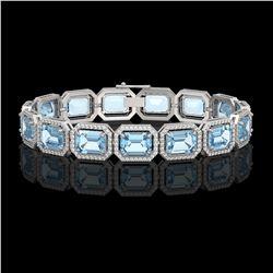 36.81 ctw Aquamarine & Diamond Micro Pave Halo Bracelet 10k White Gold - REF-600M4G