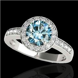 1.4 ctw SI Certified Fancy Blue Diamond Solitaire Halo Ring 10k White Gold - REF-129Y5X