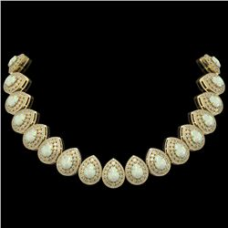 100.62 ctw Certified Opal & Diamond Victorian Necklace 14K Yellow Gold - REF-3303N3F