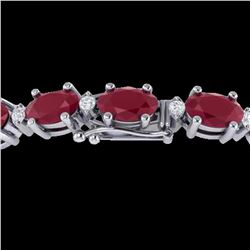 15 ctw Ruby & VS/SI Diamond Certified Eternity Bracelet 10k White Gold - REF-122N8F