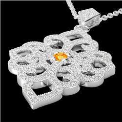 1.40 ctw Citrine & Micro Pave VS/SI Diamond Necklace 14k White Gold - REF-127G3W