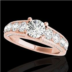2.55 ctw Certified Diamond Solitaire Ring 10k Rose Gold - REF-259M3G
