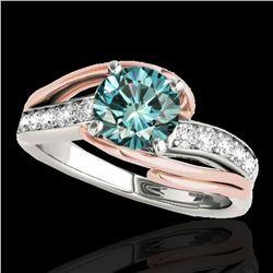 1.5 ctw SI Certified Fancy Blue Diamond Bypass Ring 10k 2Tone Gold - REF-163M6G