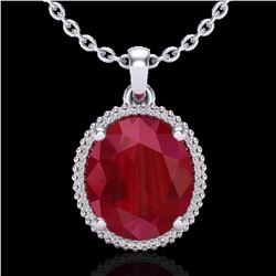 12 ctw Ruby & Micro Pave VS/SI Diamond Necklace 18k White Gold - REF-104A5N