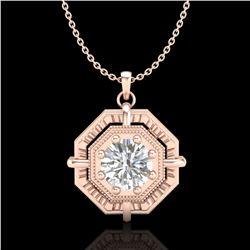 0.75 ctw VS/SI Diamond Solitaire Art Deco Stud Necklace 18k Rose Gold - REF-202X5A