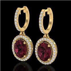 3.75 ctw Garnet & Micro Pave VS/SI Diamond Earrings Halo 18k Yellow Gold - REF-107W3H