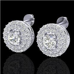 1.20 ctw Micro Pave VS/SI Diamond Earrings DOUBLE 18k White Gold - REF-123N6F