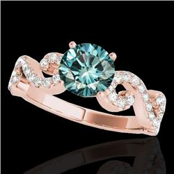 1.4 ctw SI Certified Fancy Blue Diamond Solitaire Ring 10k Rose Gold - REF-121X8A