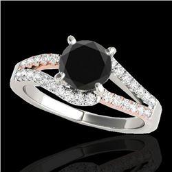 1.65 ctw Certified VS Black Diamond Solitaire Ring 10k 2Tone Gold - REF-56W2H