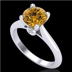 1.6 ctw Intense Fancy Yellow Diamond Art Deco Ring 18k White Gold - REF-216W8H