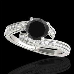 2 ctw Certified VS Black Diamond Bypass Solitaire Ring 10k White Gold - REF-80H5R