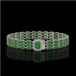 18.41 ctw Jade & Diamond Bracelet 14K White Gold - REF-318N2F