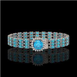29.89 ctw Swiss Topaz & Diamond Bracelet 14K White Gold - REF-281G8W