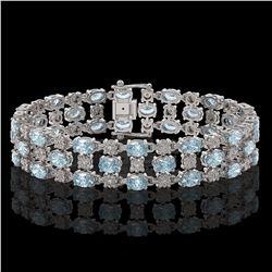 16.06 ctw Sky Topaz & Diamond Row Bracelet 10K White Gold - REF-209H3R