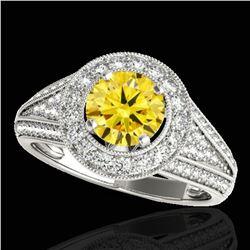 2.17 ctw Certified SI/I Fancy Intense Yellow Diamond Ring 10k White Gold - REF-340G9W