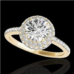 1.6 ctw Certified Diamond Solitaire Halo Ring 10k Yellow Gold - REF-203M2G