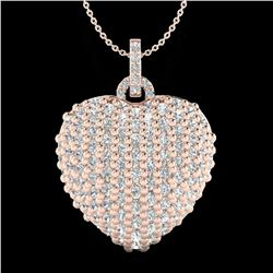 3 ctw Micro Pave VS/SI Diamond Designer Heart Necklace 14k Rose Gold - REF-189Y6X