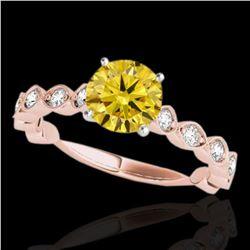 1.5 ctw Certified SI/I Fancy Intense Yellow Diamond Ring 10k Rose Gold - REF-196H4R