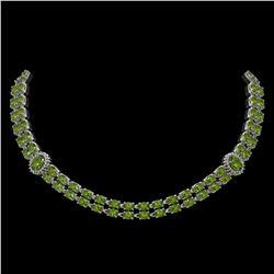 37.23 ctw Tourmaline & Diamond Necklace 14K White Gold - REF-527A3N