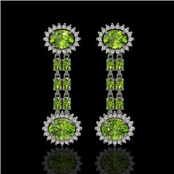 9.21 ctw Peridot & Diamond Earrings 14K White Gold - REF-157F5M