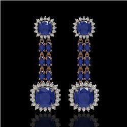 19.88 ctw Sapphire & Diamond Earrings 14K Rose Gold - REF-336K4Y