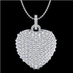 3 ctw Micro Pave VS/SI Diamond Designer Heart Necklace 18k White Gold - REF-200A2N